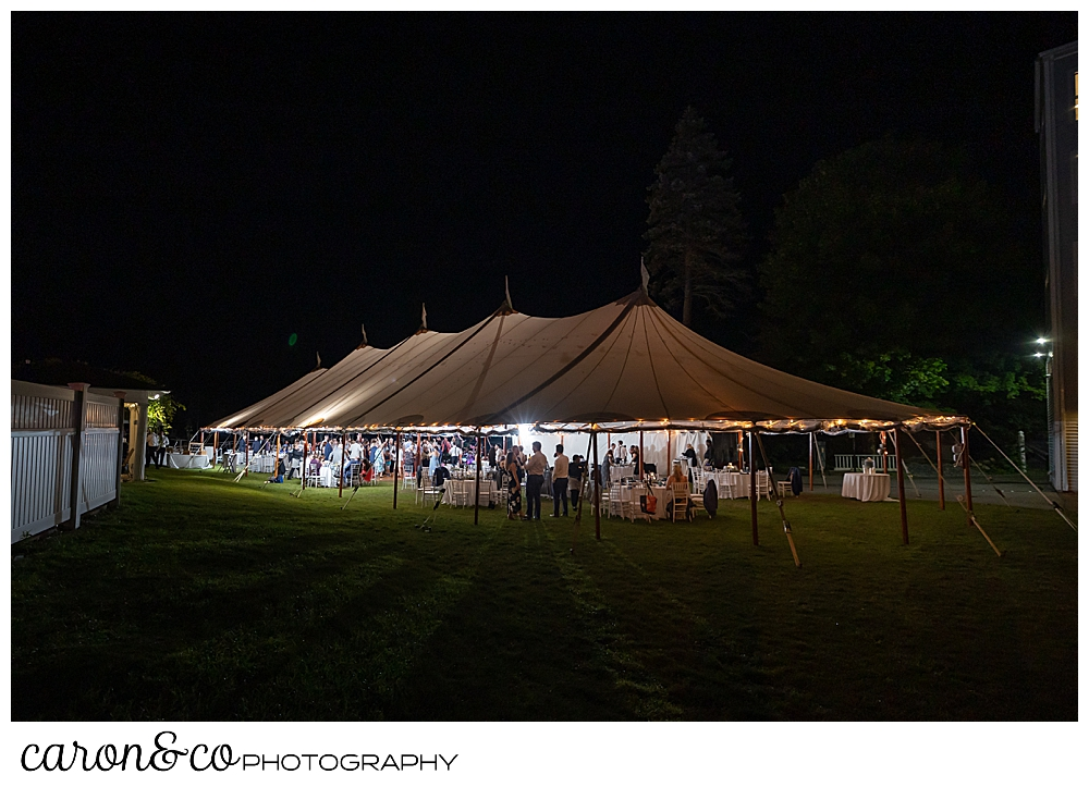 a Sperry Seacoast tent on the lawn of the Nonantum Resort, Kennebunkport, Maine, after dark