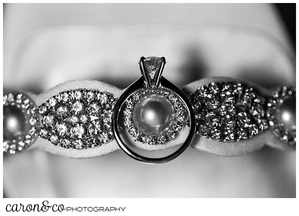 engagement ring and bridal shoe detail in black and white
