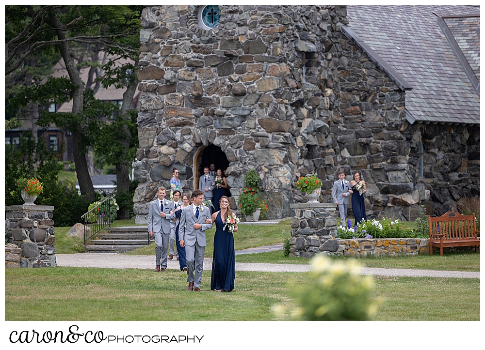 bridesmaids and groomsmen, processing from St. Ann's by-the-sea Episcopal Church, to the outdoor ceremony site