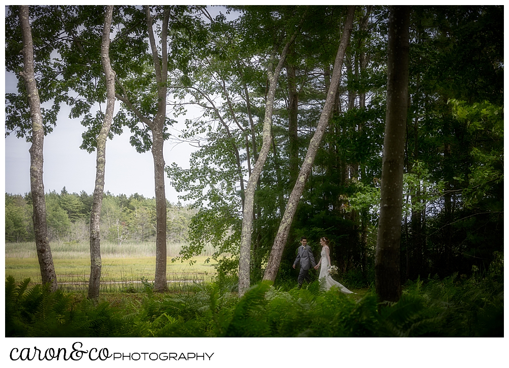a bride and groom walk in the woods during their Kennebunk Maine wedding
