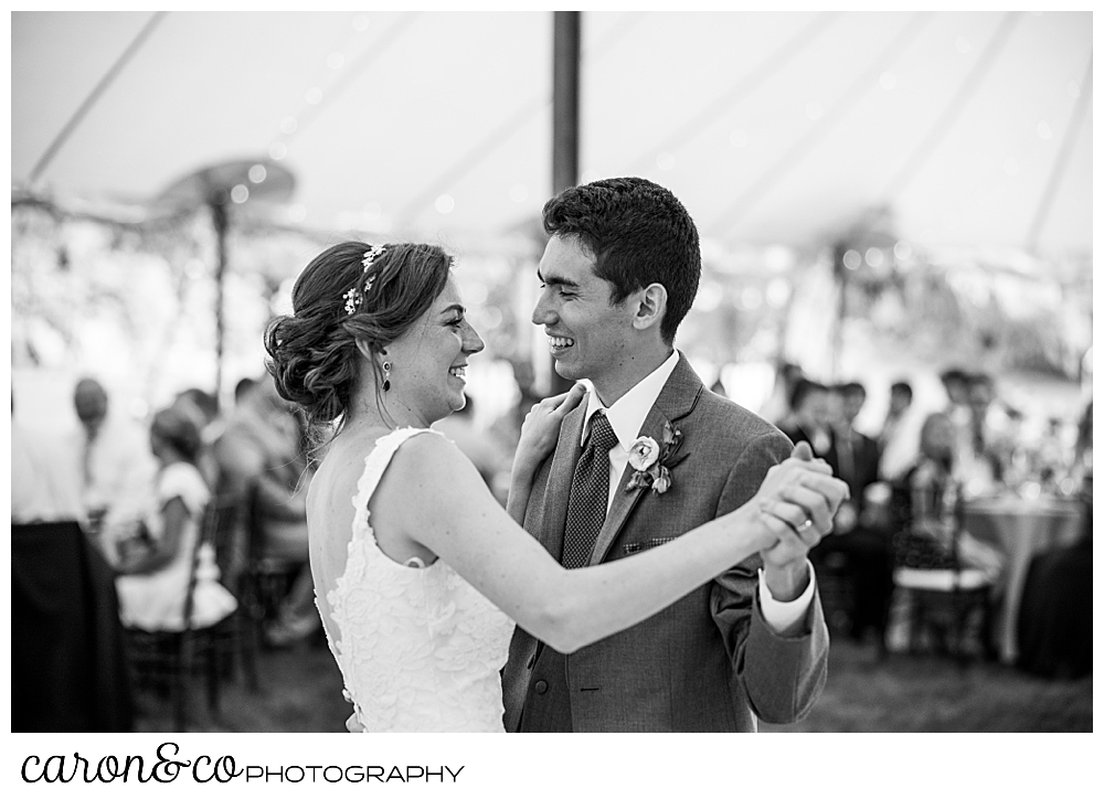 black and white photo of a bride and groom during their first dance at their Kennebunk Maine wedding reception