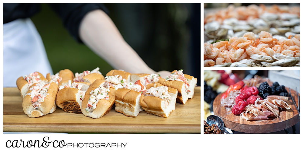 food by The White Apron catering company, lobster rolls, raw bar, and charcuterie board