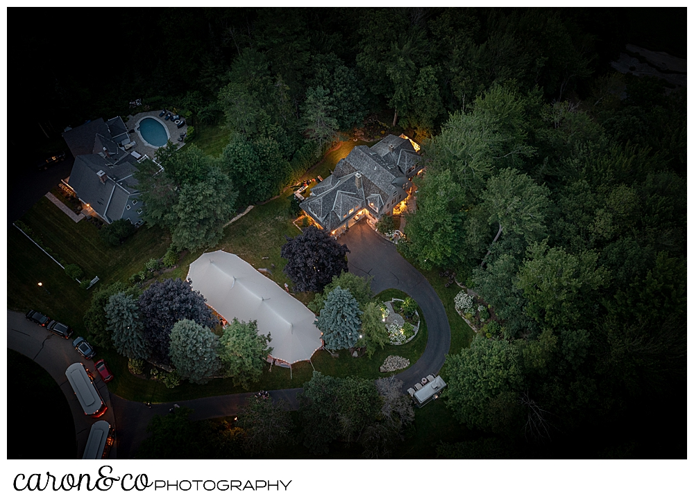 drone photo of a Sperry seacoast tent at a Kennebunk Maine wedding