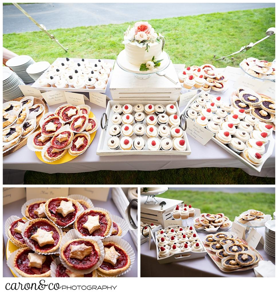 an array of desserts including a small wedding cake, pies, and cupcakes from Cakes for All Seasons