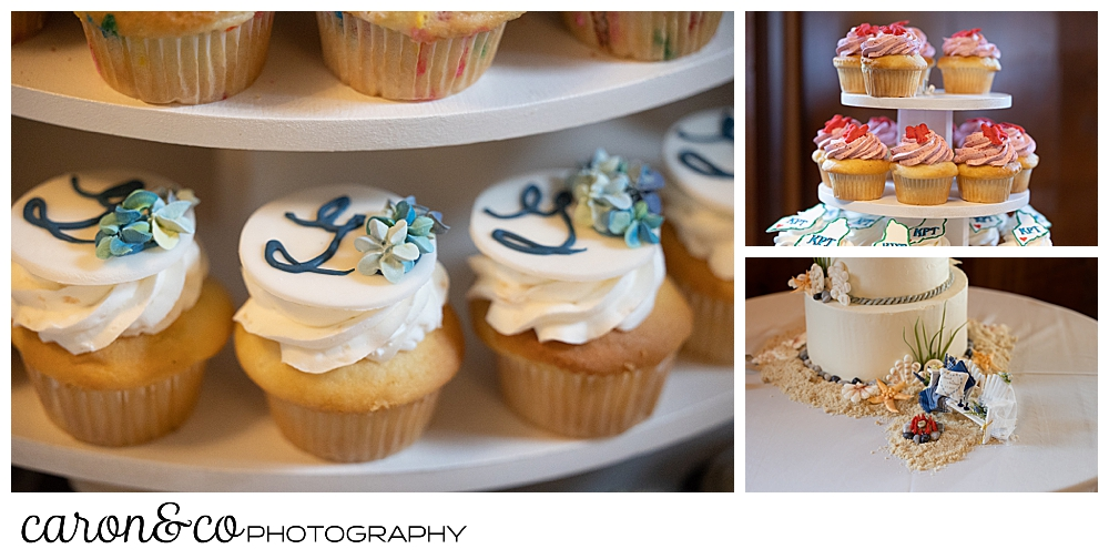 cake detail and cupcakes by Let Them Eat Cake at a Kennebunkport wedding at the colony hotel