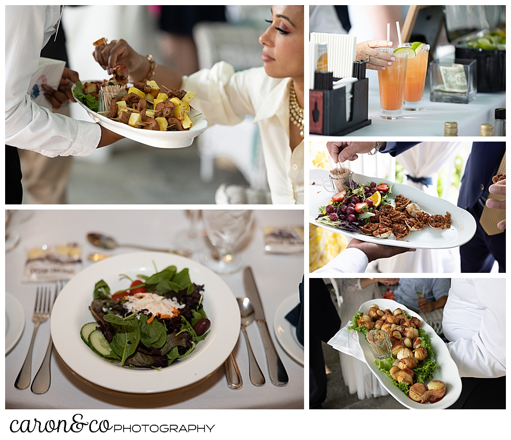 wedding and cocktail food at the Colony Hotel, Kennebunkport, Maine