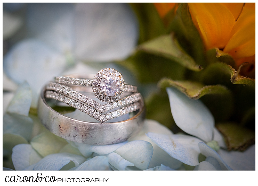 wedding ring details in platinum: diamond engagement ring, and two bridal wedding bands, one men's wedding band, set against some light blue hydrangea and yellow sun flower