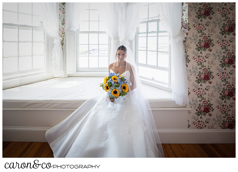 a gorgeous bride with dark hair and eyes, sits on the window seat at the Colony Hotel, she's holding a bouquet of blue hydrangeas and yellow sun flowers,