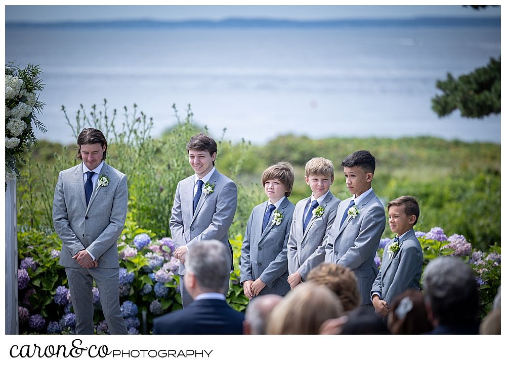 two groomsmen, 3 junior groomsmen, and a ring bearer, all wearing gray suits, stand in a line during a Kennebunkport wedding at the Colony Hotel