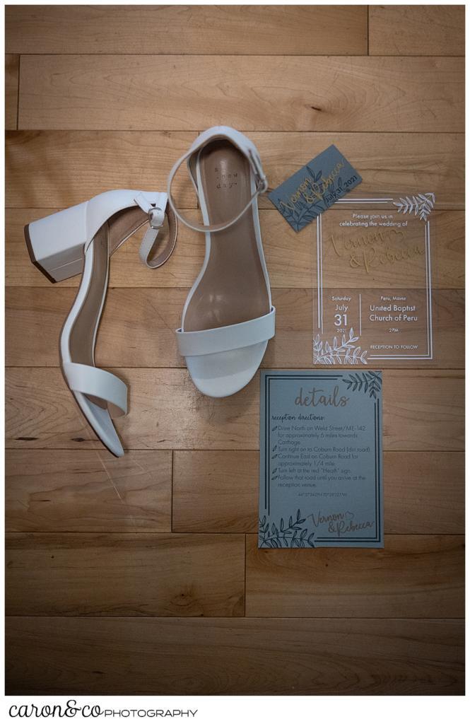 bridal details, shoes, and paper suite