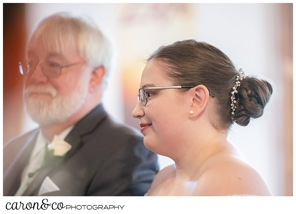 a bride stands next to her father, during a sweet western Maine wedding