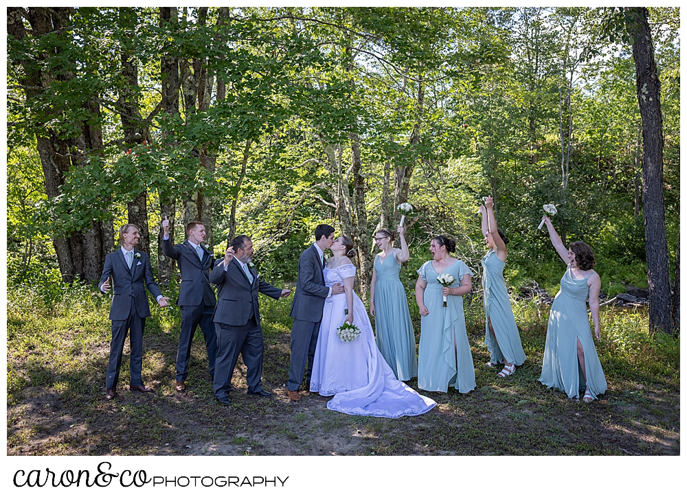 a bride and groom kiss while their bridal party cheers