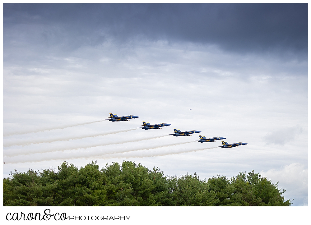 5 us navy blue angels flying during the Great State of Maine Airshow in Brunswick, Maine 2021