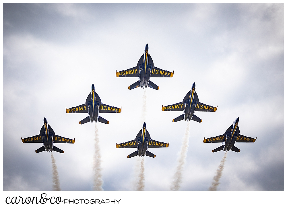 6 us navy blue angels flying overhead diamond formation