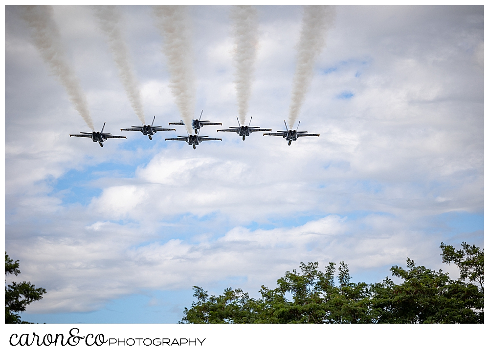 6 us navy blue angels fly overhead in Brunswick, Maine, at the Great State of Maine Airshow 2021