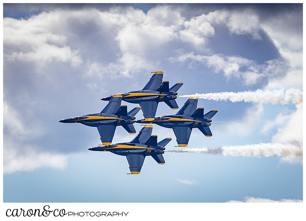 4 us navy blue angels flying in a cloudy sky over Brunswick, Maine, during the Great State of Maine Airshow 2021