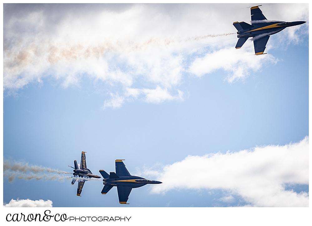 3 us navy blue angels during a flight maneuver over Brunswick Maine