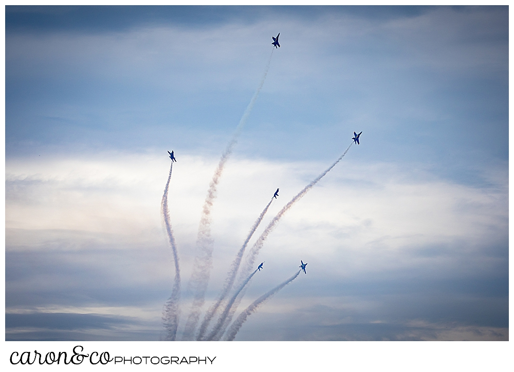 us navy blue angels make 6 contrails as they fly over Brunswick, Maine