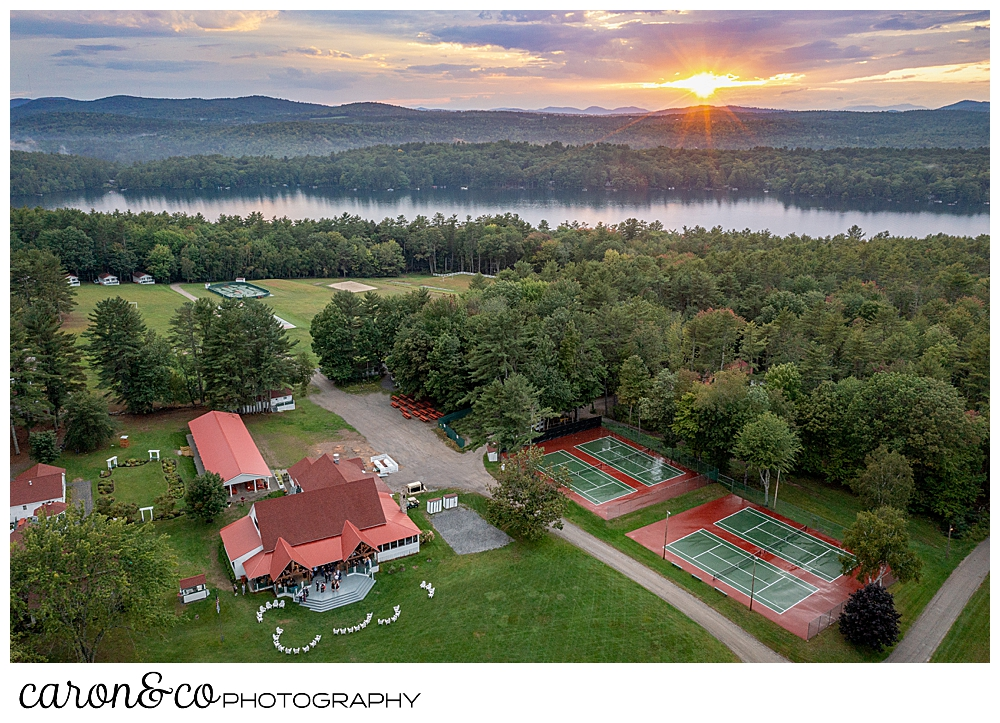 a drone photo of camp skylemar at sunset in late summer 2021