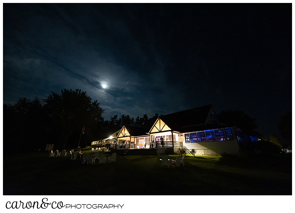 The Main Lodge at Camp Skylemar, after dark at the end of the summer 2021