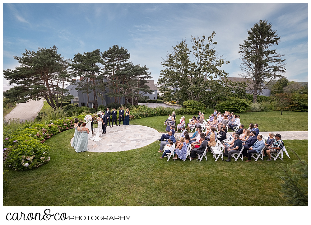 side view of an outdoor coastal maine wedding at the colony hotel Kennebunkport maine