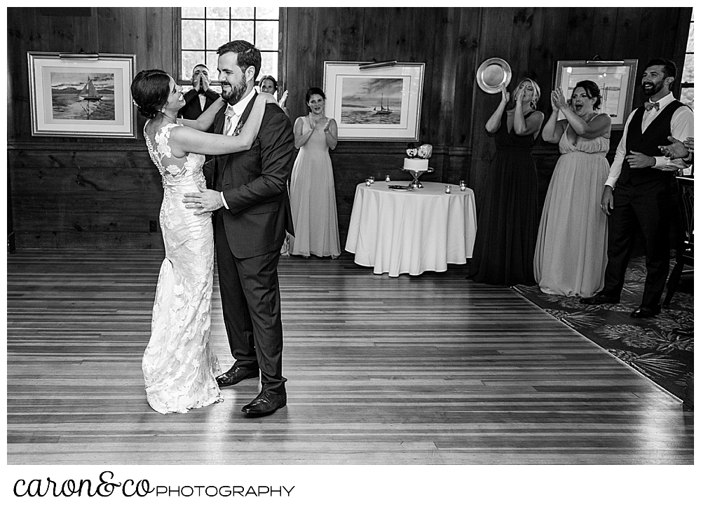 a black and white photo of a bride and groom dancing in the ballroom at the Colony Hotel, Kennebunkport, Maine