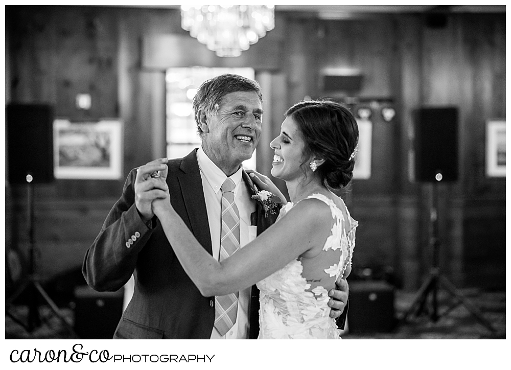 black and white photo of a bride dancing with her father at a coastal Maine wedding at the Colony Hotel Kennebunkport, Maine