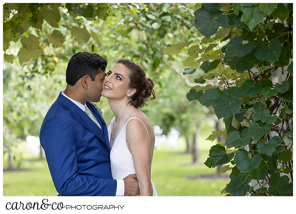 a groom gives his bride butterfly kisses on her cheek