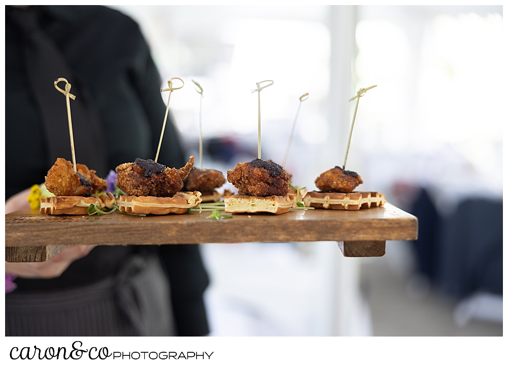 chicken and waffles appetizer by The Black Tie Company, for a joyful Pineland Farms wedding reception